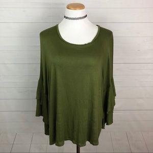 Bobeau ruffle sleeve knit top size L